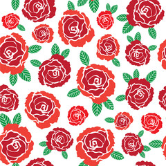 Vector red roses seamless pattern illustration