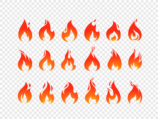 Burning flames vector set isolated on transparent background