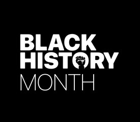 Black History Month logo with the fist. Vector illustration