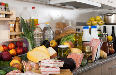 Photo of food on the table at kitchen of home.