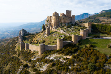 Foto op Plexiglas Kasteel Top view of the castle Castillo de Loarre. Huesca Province. Aragon. Spain