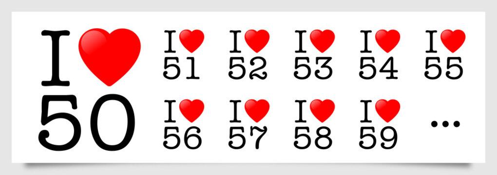 I love 50, 51, 52, 53, 54, 55, 56, 57, 58, 59