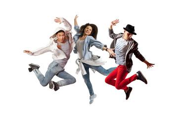 Beautiful young trio in dance studio
