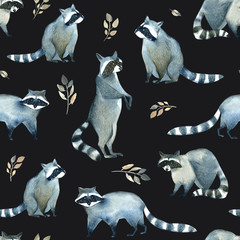 Watercolor realistic forest animal sketch. Seamles pattern about many of raccoons and leaves