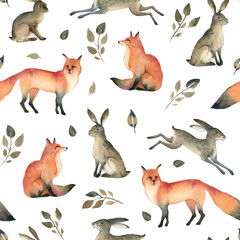 Watercolor realistic forest animal sketch. Seamles pattern about fox, hare and leaves