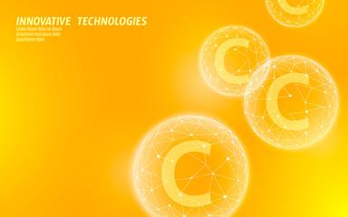 Fototapeta Vitamin C low poly sphere bright orange color. Health supplement skin care anti-aging cosmetics ad complex flu treatment. Medicine science banner template vector illustration obraz