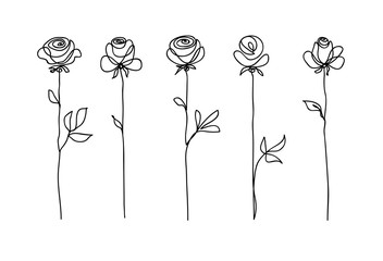 Rose flower set. Continuous drawing. Line art concept design. Stylish modern trend pattern for decoration
