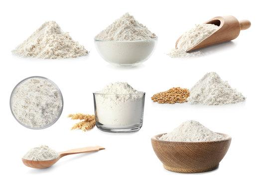 Heap of wheat flour on white background