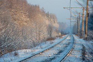 The Russian snow winter - railway in  a wood
