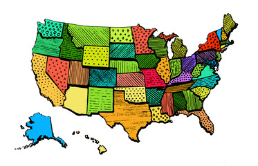 Color Art Map Of United States Of America Funny