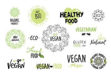 Bio, Ecology, Organic logos and icons, labels, tags. Hand drawn bio healthy food badges, set of raw, vegan, healthy food signs, organic and elements set. go vegan, vegetarian, hand drawing white green