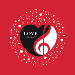Love music red banner with treble clef inside the heart shape.