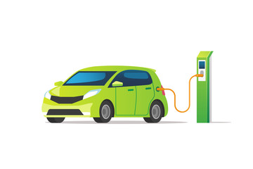 Electric car charging at the charger station. Vector illustration.