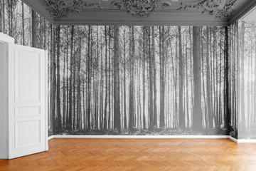 room with photo wallpaper with  forest landscape photography  -