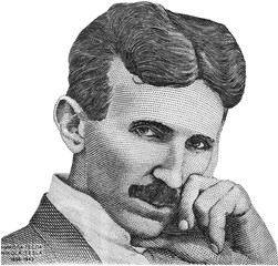 Nikola Tesla portrait on Serbia banknote isolated. Genius scientist and inventor, famous by the inventions in electricity.
