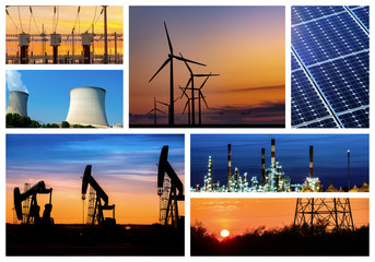 Energy concept with collage of various photo