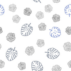 Dark BLUE vector seamless abstract design with flowers, leaves.
