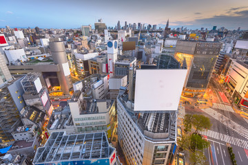Fototapete - Tokyo, Japan city skyline over Shibuya Ward