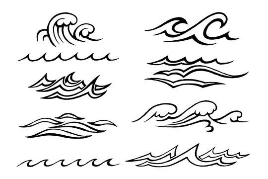 sea waves stylized sketch