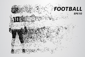 American football. Football of black circles on a light background. The dots create the silhouette of an American football player. Sports, football, touchdown and other concepts illustration.