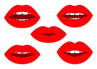 Set of red lips. Vector illustration