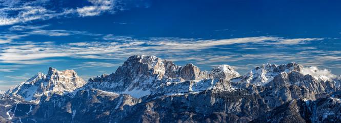panoramic view of Mt Civetta ski resort, Dolomites, Italy