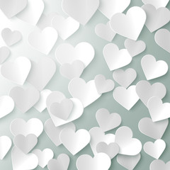 Paper hearts romantic Valentine background template, vector illustration