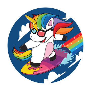 cartoon unicorns that are surfing the clouds with rainbows