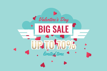 Valentine's Day Sales Banner with Decor Red Hearts. Romantic promotion card and flyer. Vector.