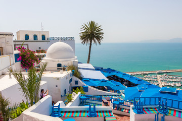 SIDI BOU SAID, TUNISIA - JULY 19, 2018: The great view from the patio of traditional restaurant with the view of Mediterranean sea