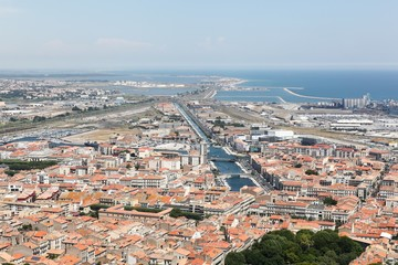View of the city of Sète in France from Mont Saint Clair