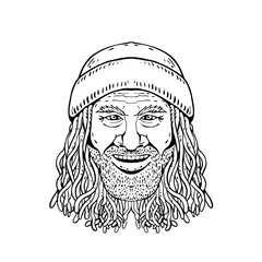 Drawing sketch style illustration of head of a Rastafarian dude, Rastafari or guy practising Rastafarianism, an Abrahamic religion developed in Jamaica in 1930s on white background in black and white.