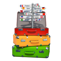 Travel concept. Signpost with names of countries inside suitcase on the heap of luggage. 3D rendering