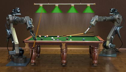 Robot arms play billiards, 3D rendering