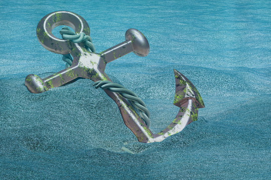 Anchor underwater. 3D rendering