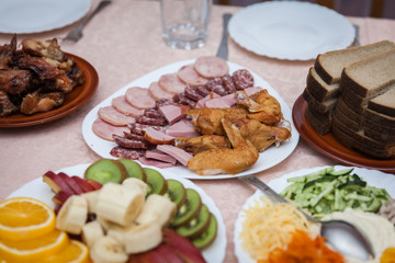meat plate at the festive table at a celebration