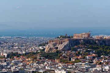 Athens Greece, Parthenon on Acropolis hill panoramic view