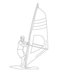 windsurfing ,vector illustration ,lining draw , front