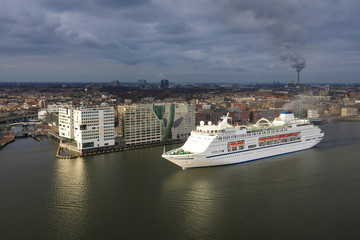 Large cruise ship in the harbor of Amsterdam, Netherlands