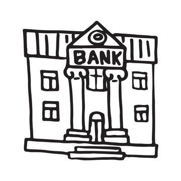 Handdrawn doodle bank building icon