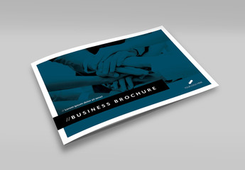 Business Brochure Layout with Blue and Black Accents