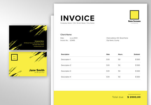 Business Stationery Set with Black and Yellow Accents