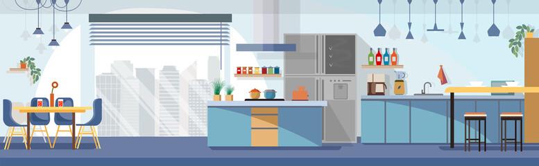 Modern Kitchen Interior Design Cartoon Vector