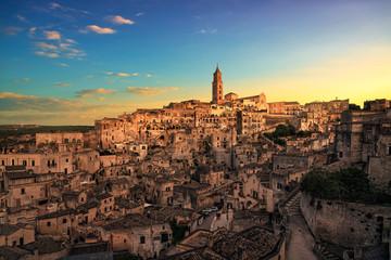 Matera ancient town i Sassi, Unesco site landmark. Basilicata, Italy. Wall mural