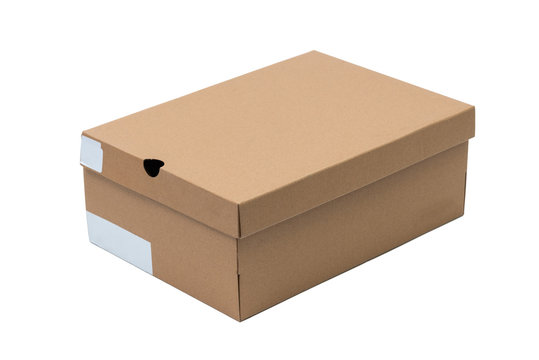 Brown cardboard shoes box with lid for shoe or sneaker product packaging mockup, isolated on white with clipping path.