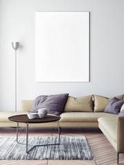 Mock up poster in Scandinavian living room background, 3d render, 3d illustration