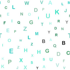 Light Green vector seamless background with signs of alphabet.
