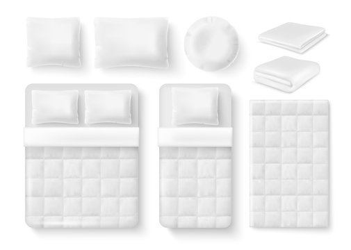 Vector white blank bedding set. Bed, pillow, linen and folded and unfolded blanket, duvet cover realistic templates.
