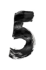 """The number """"5"""" is written in black on an isolated white background."""