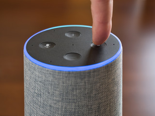Smart speaker artificial intelligence assistant voice control blue ring
